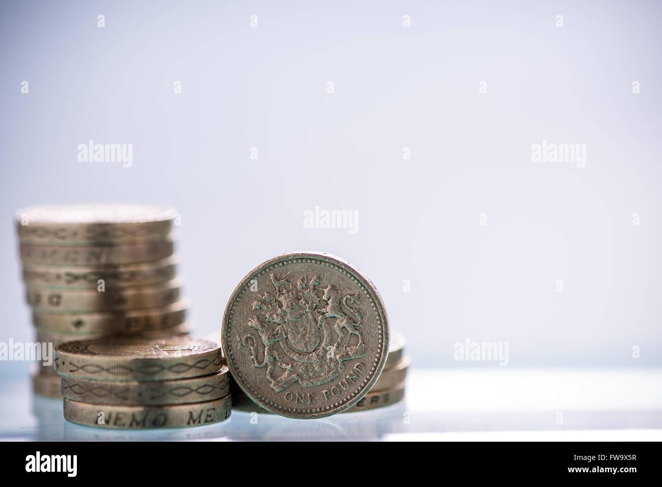 Britisches Pfund Münzen Haufen Textfreiraum Stockfoto Bild