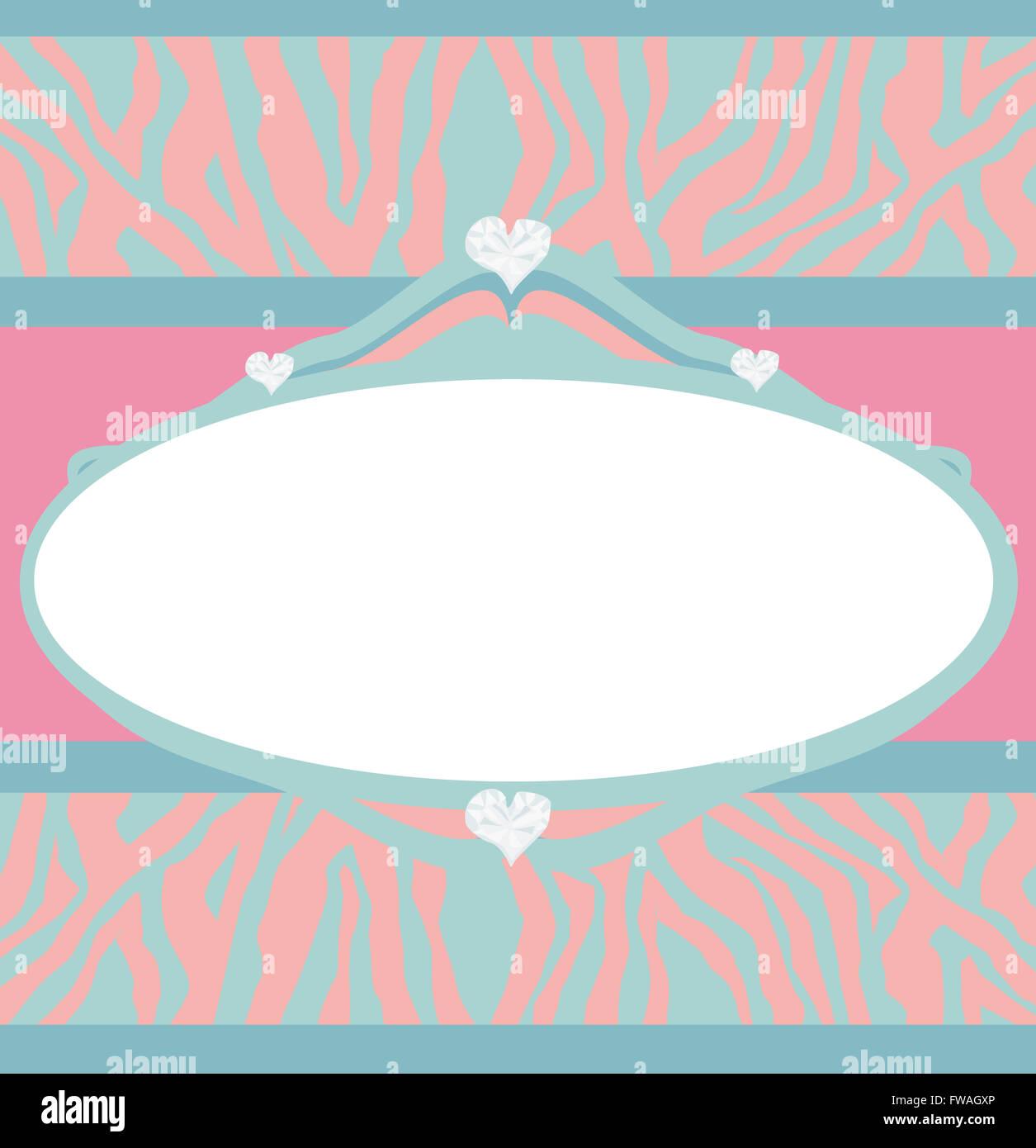 Invitation Cards Template Abstract Diamond Hearts Zebra Print ...