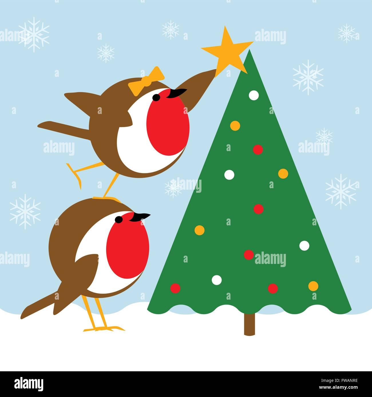 Weihnachtsszene mit niedlichen Robins Platzierung einen Stern auf ...