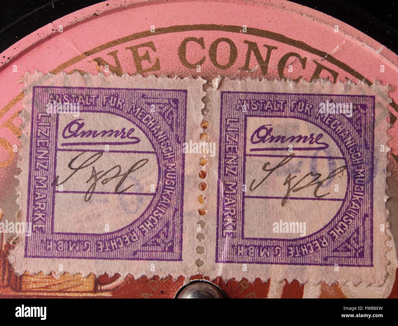 Deutsche Copyright Lizenz Briefmarken Mecanish Musikalishe Rechte