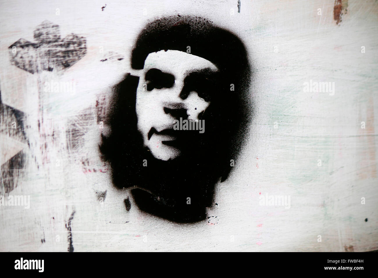 Ein Che-Guevara-Graffiti, Berlin. Stockbild