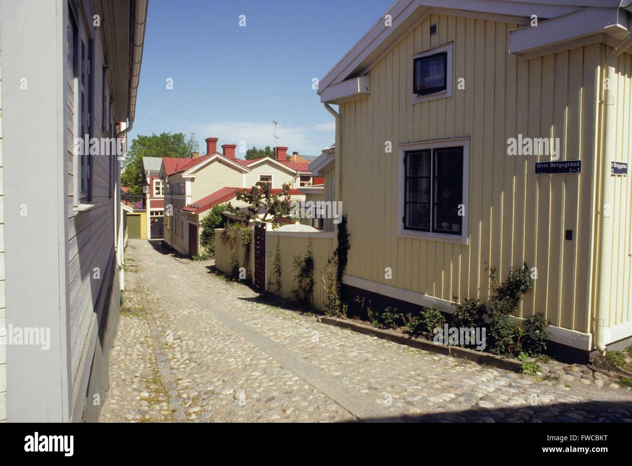 Alte Holzhäuser Stockbild