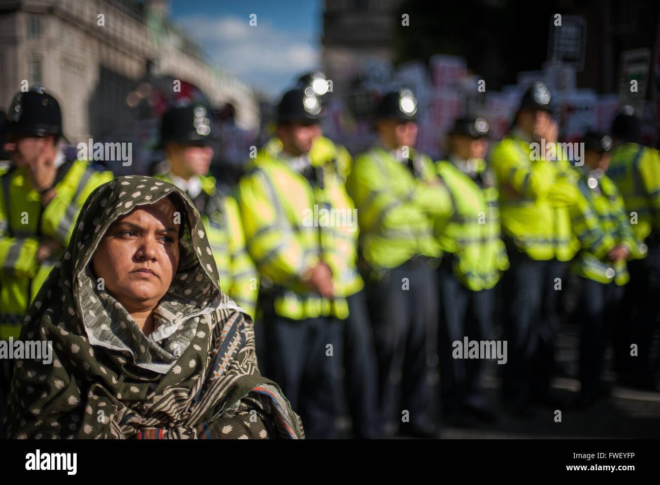 Demonstrant gegen pro-israelische BBC Bias, 15. Juli 2014, London Stockbild