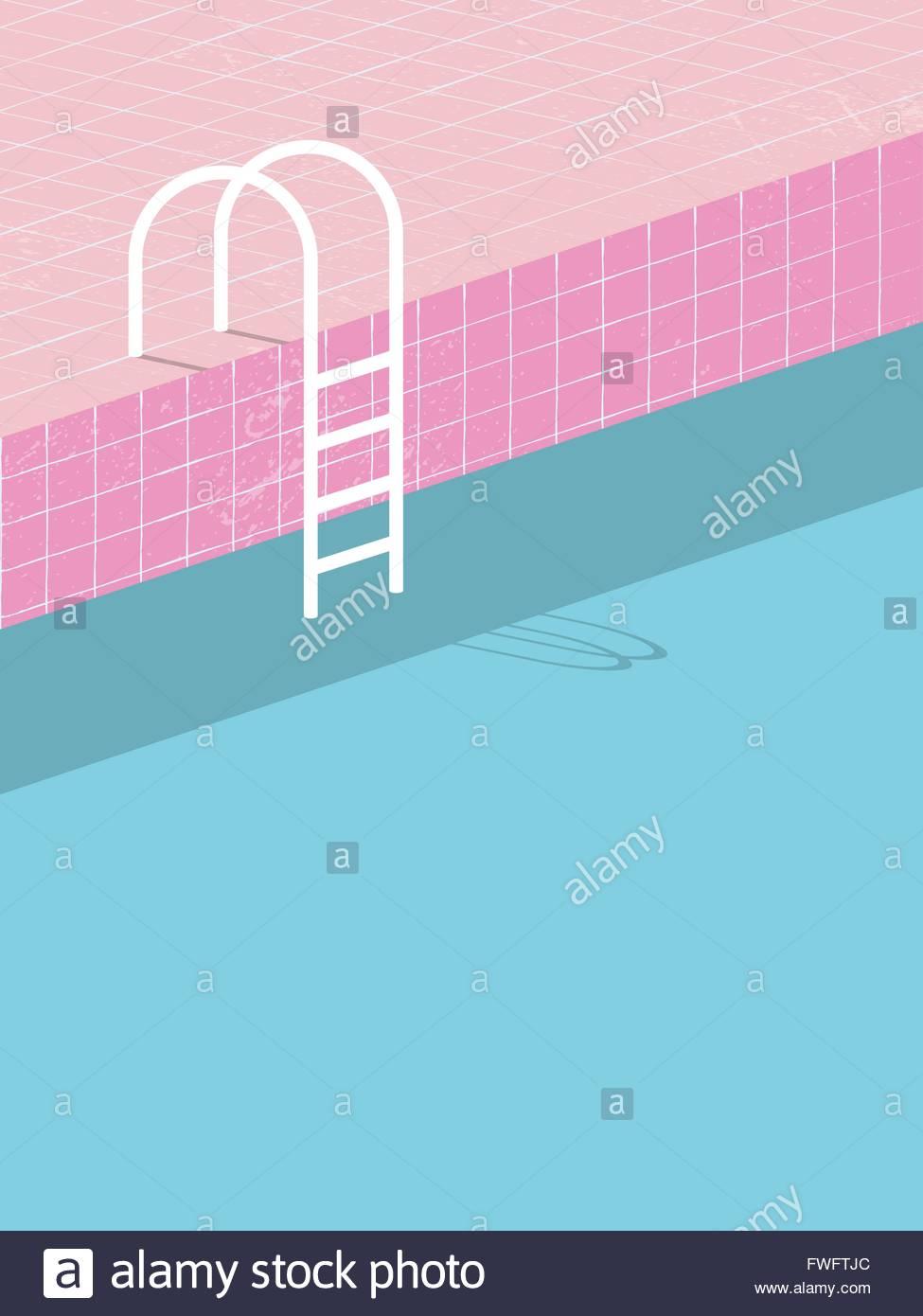 Schwimmbad Im VintageStil Alte Retro Rosa Fliesen Und Weiße Leiter - Fliesen vintage stil