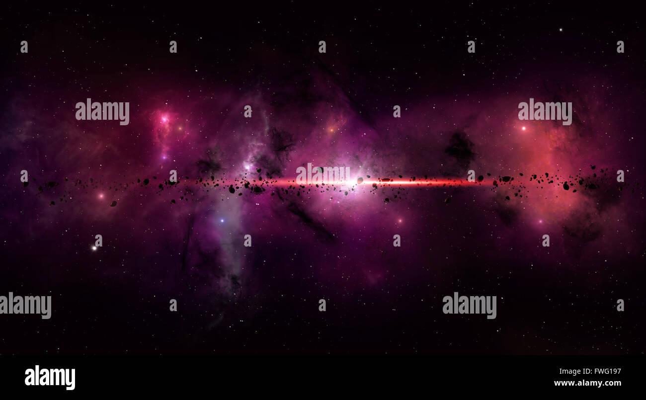imaginäre Weltraum Sterne bei Nebel Sterne und Asteroiden eingereicht Stockbild