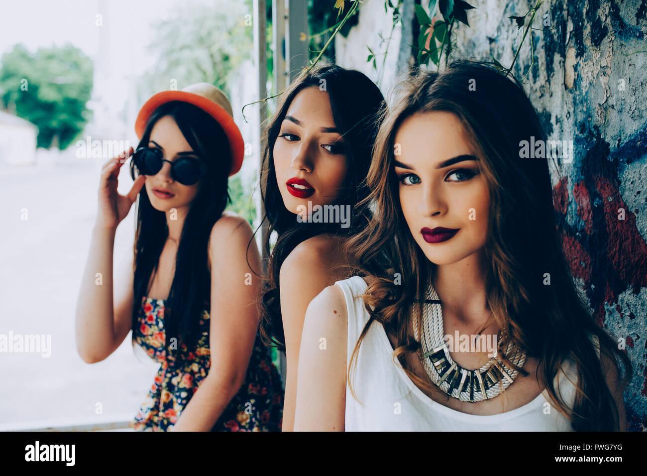 drei junge schöne Mädchen Stockbild
