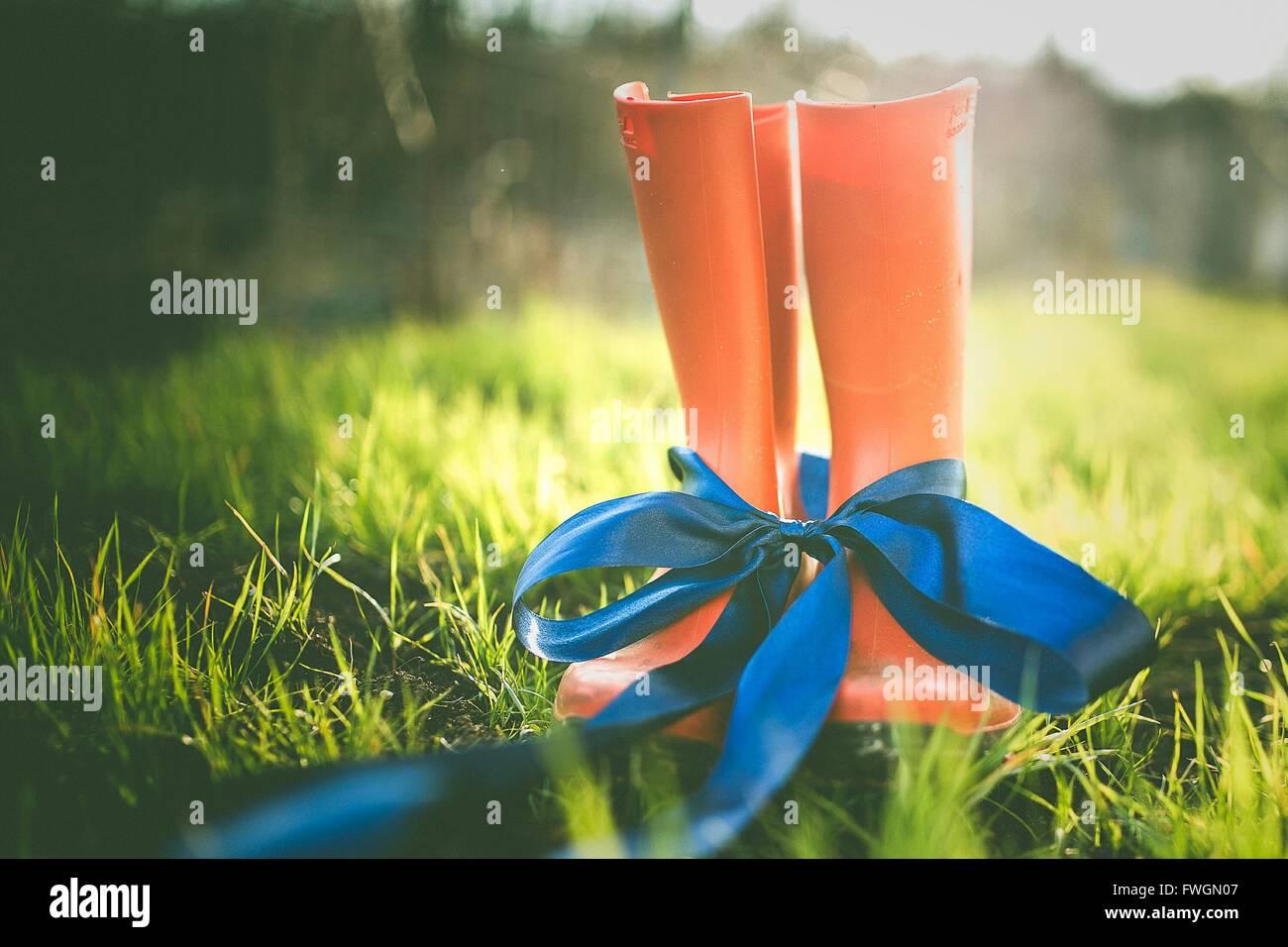 Nahaufnahme der Gummistiefel mit blauem Band gefesselt Stockbild