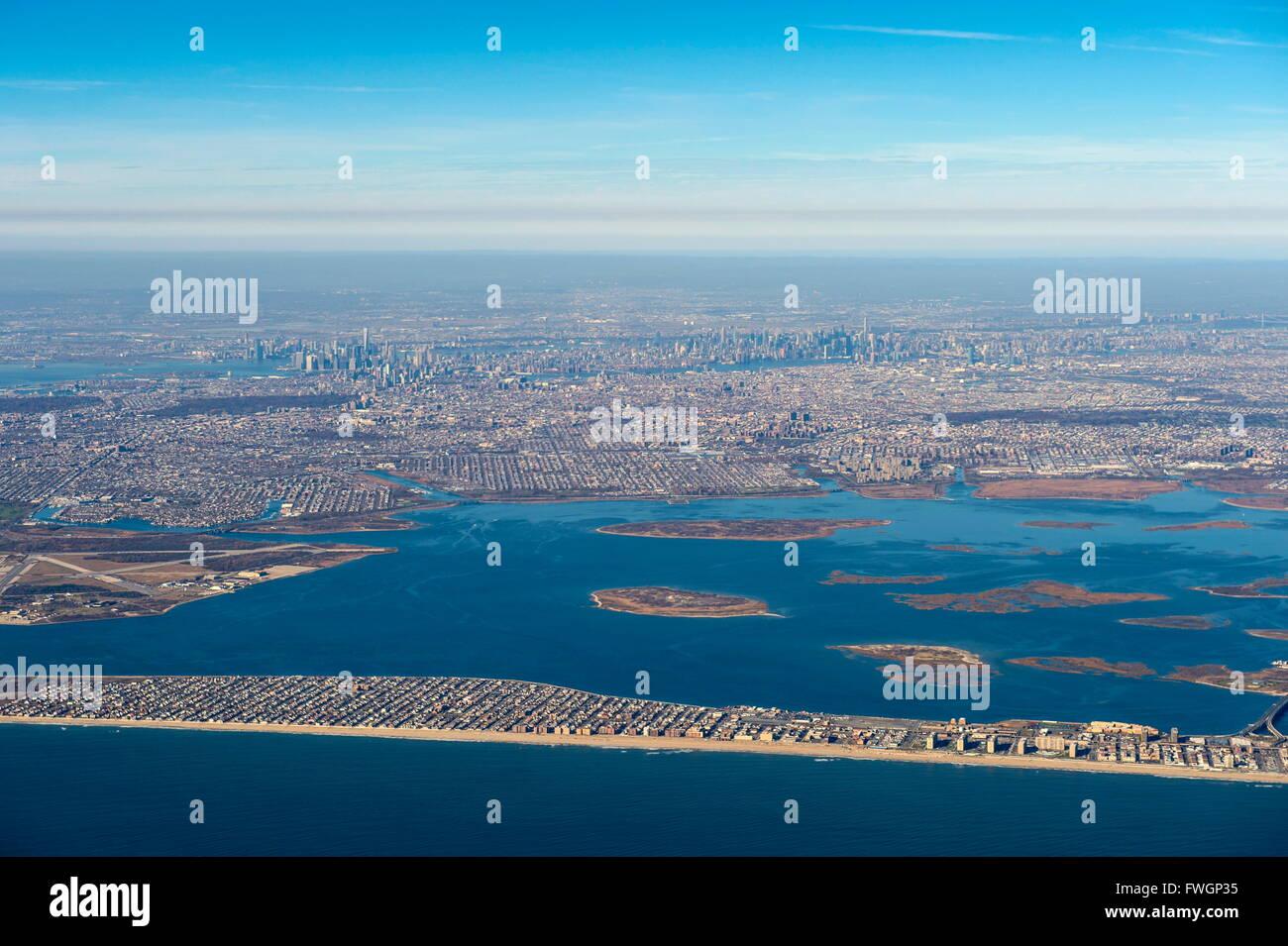 Luftaufnahmen von New York, Vereinigte Staaten von Amerika, Nordamerika Stockbild