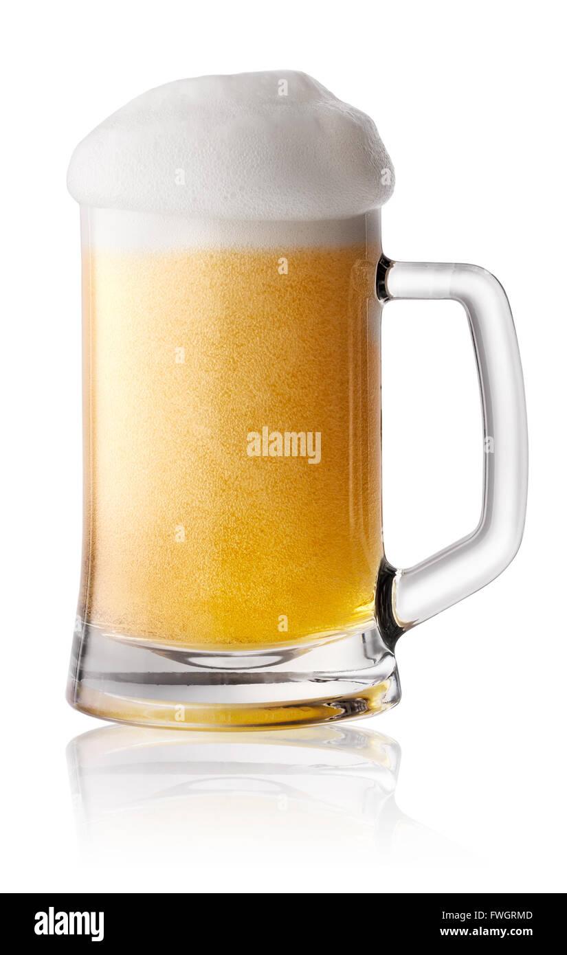 Schaum, frisch gezapftes Bier im Becher Stockbild