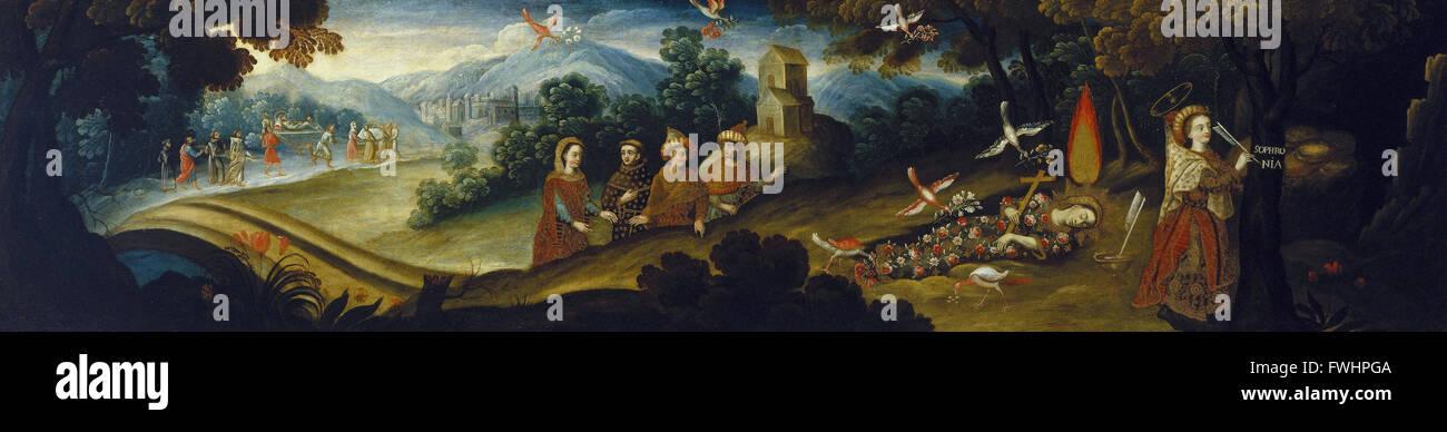 Kreis von Diego Quispe Tito - die Legende von Santa Sophronia - Brooklyn Museum Stockbild