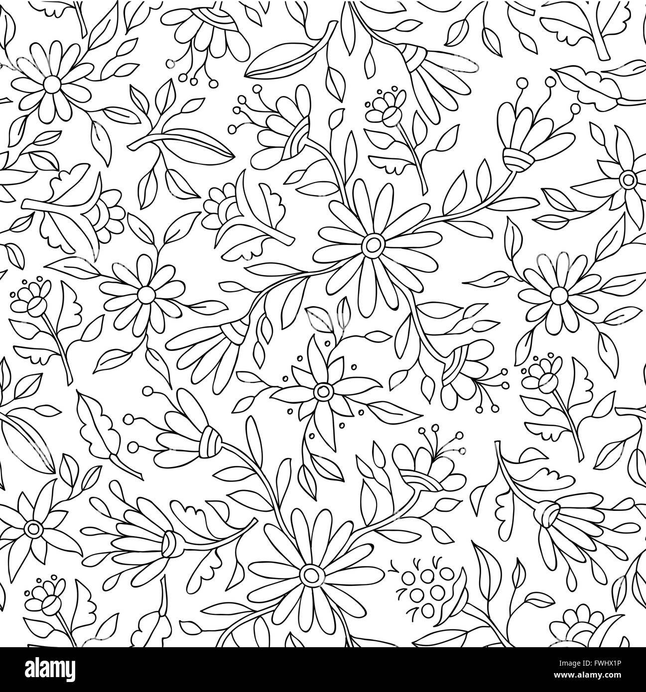 Blumen Frühling Muster in schwarz und weiß mit Blume Konturen und ...