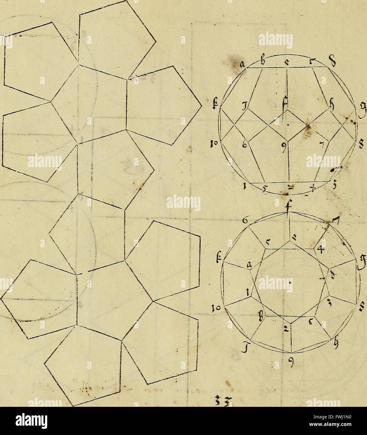 Vnderweysung der Messung - Mit Dem Zirkel vn(d) Richtscheyt in Linien Ebnen Vnnd Gantzen Corporen (1525) Stockbild