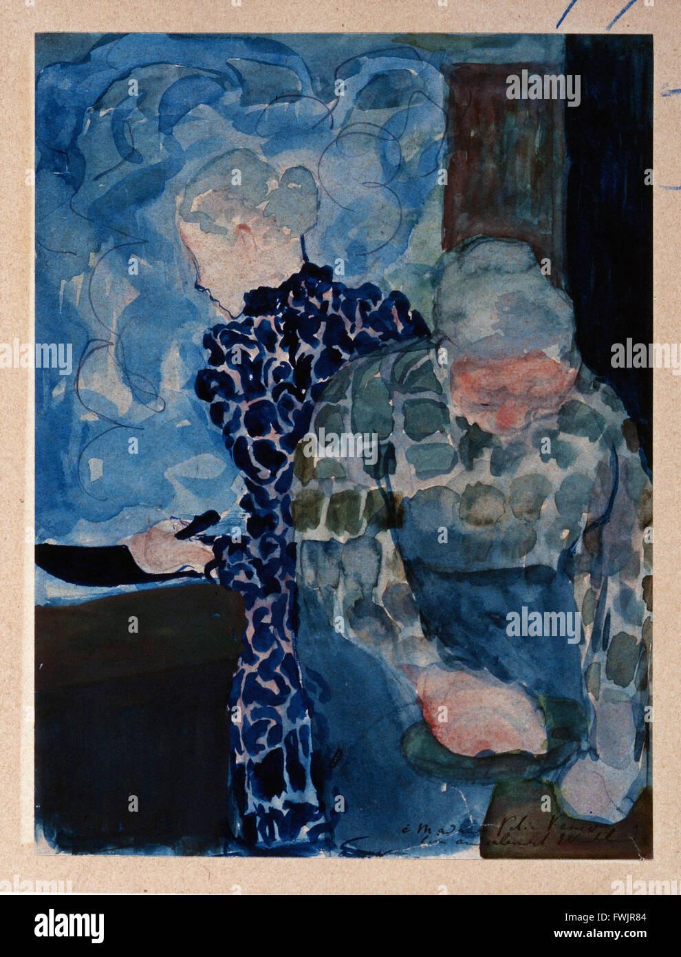 Edouard Vuillard - Deux Femmes Dans Interieur - Berkshire Museum Stockbild