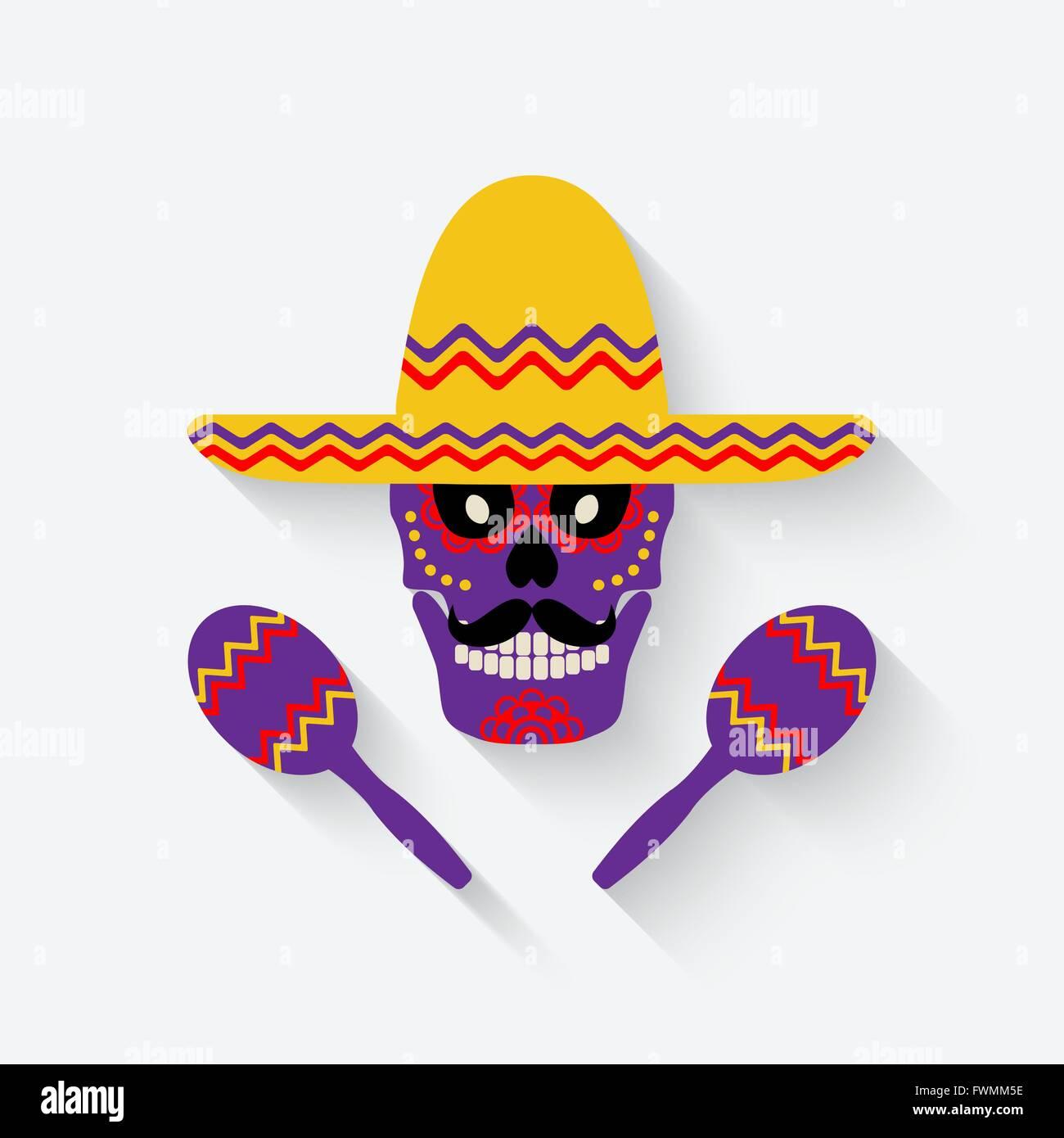 Mexican Sombrero Maracas Vector Illustration Stockfotos & Mexican ...