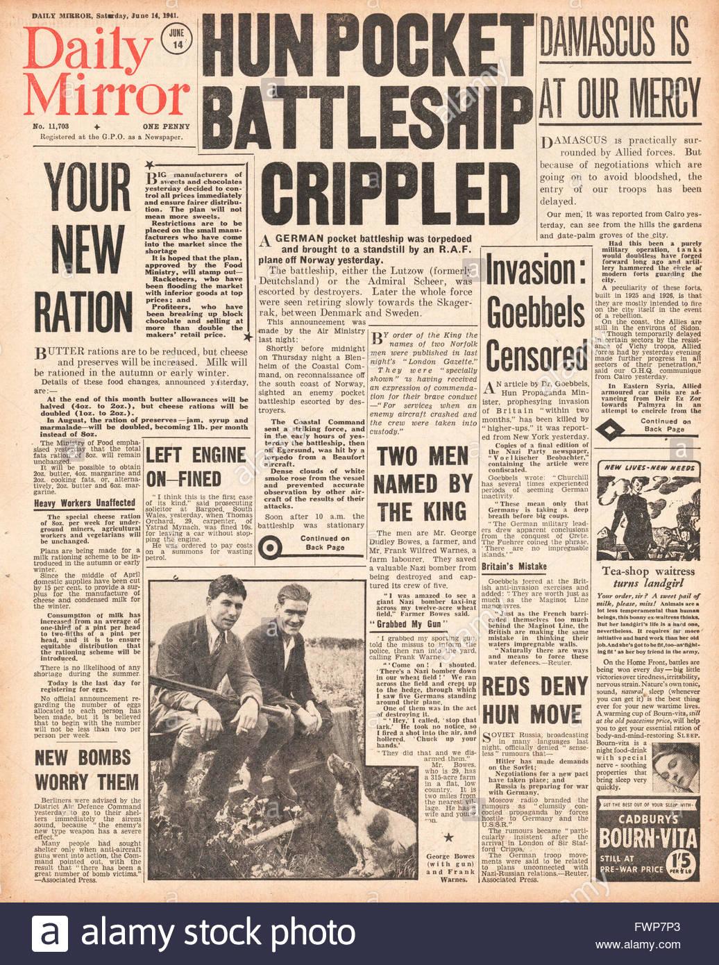 1941 Titelseite Daily Mirror britische Flugzeuge zu torpedieren und Krüppel deutscher Tasche Linienschiff Deutschland Stockbild