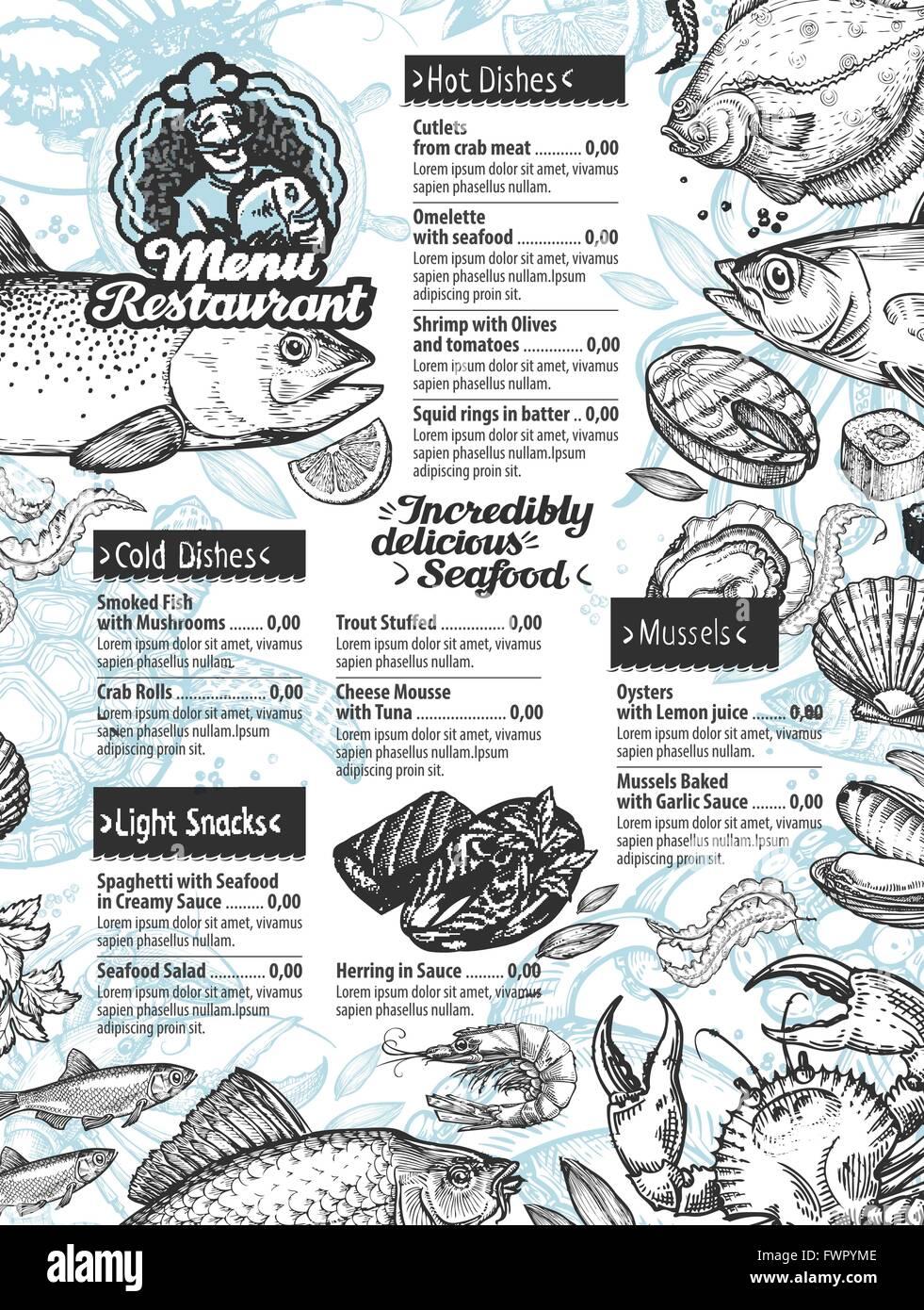Fisch und Meeresfrüchte Menü. Vektor Vorlage Broschüre oder Flyer ...