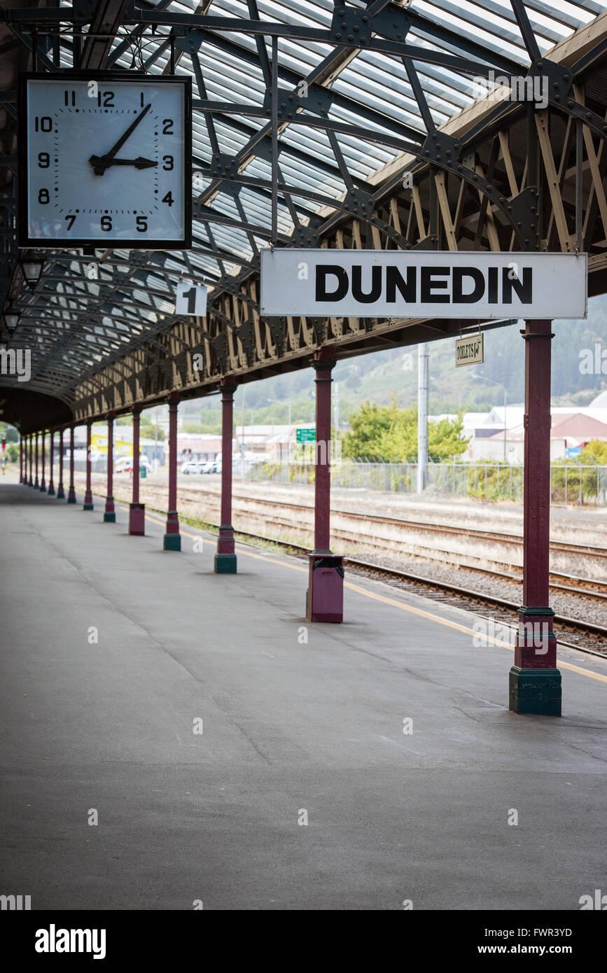 Bahnhof in Dunedin, Otago, Neuseeland Stockfoto