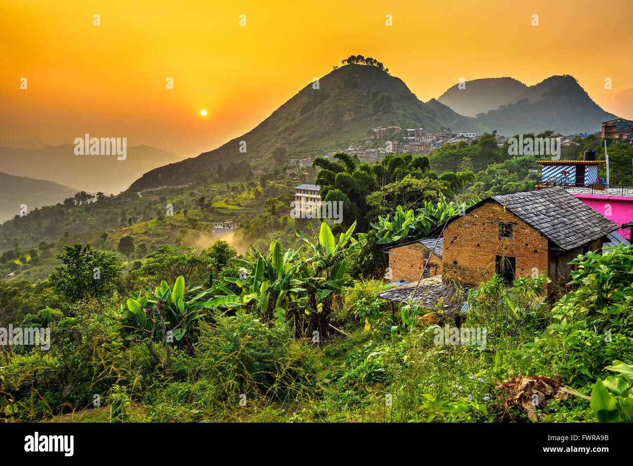 Sonnenuntergang über dem Bandipur in Nepal Stockbild
