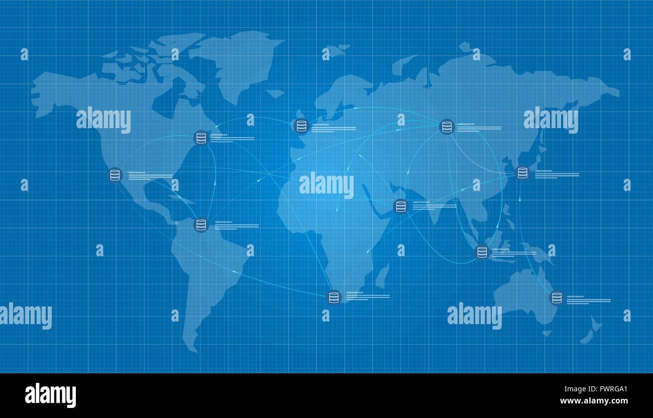 Netzwerk-Datenbank Server Verteilung Blaupause Vektor Abbildung ...