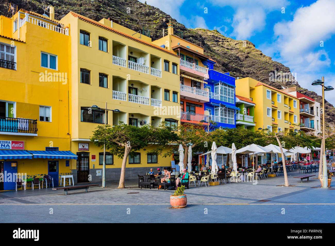 Der Hafen von Tazacorte. Tazacorte, La Palma, Teneriffa, Kanarische Inseln, Spanien, Europa Stockbild