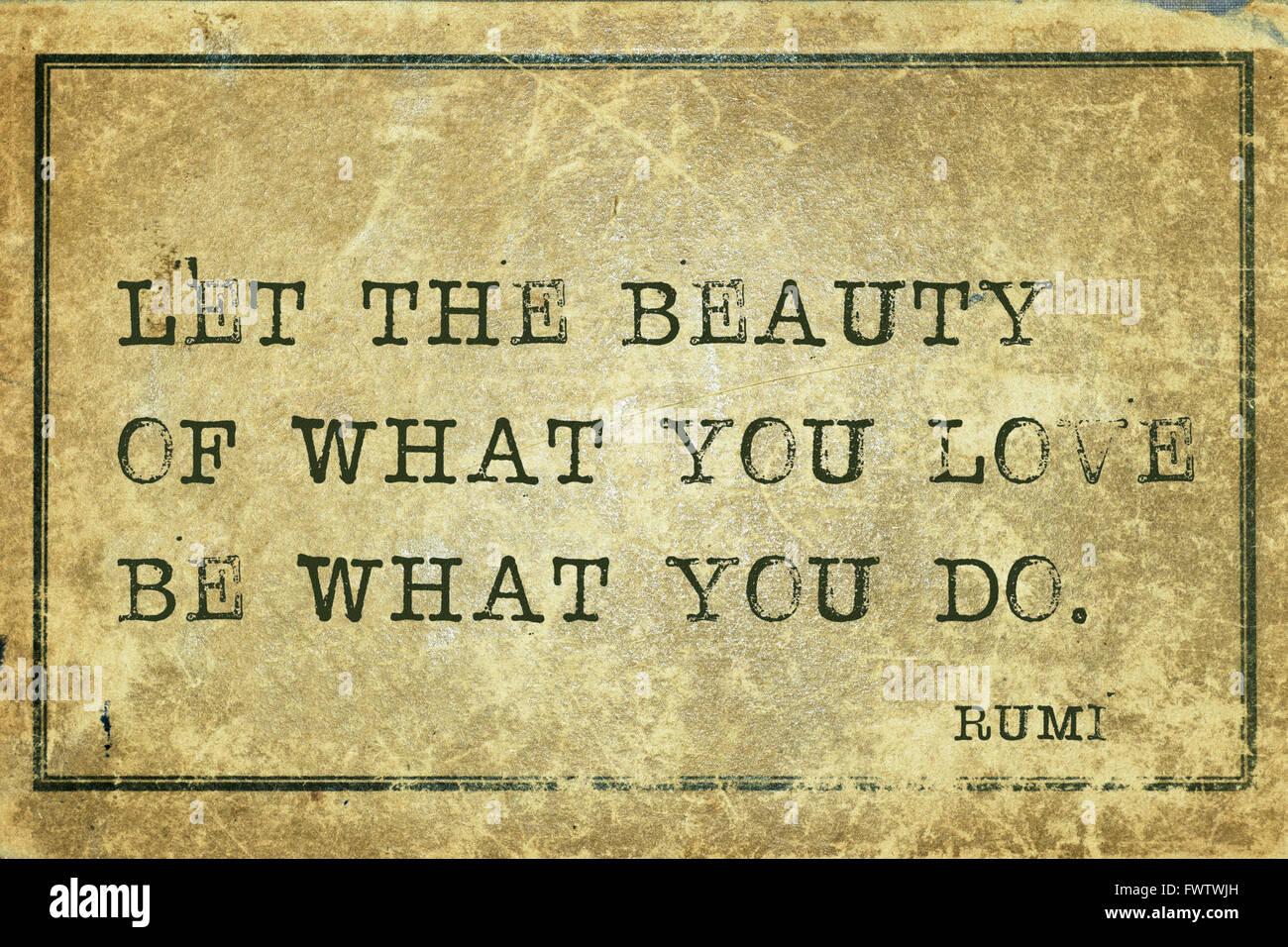 Lassen Sie Schonheit Des Was Du Liebst Alte Persische Dichter Und Philosoph Rumi Zitat Auf Grunge Vintage Karton Gedruckt