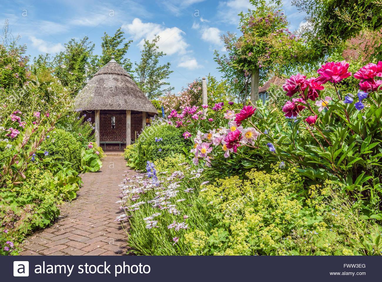 Master Garten im Lord Leycester Hospital in Warwick eine mittelalterliche Kreisstadt von Warwickshire, England, Stockbild