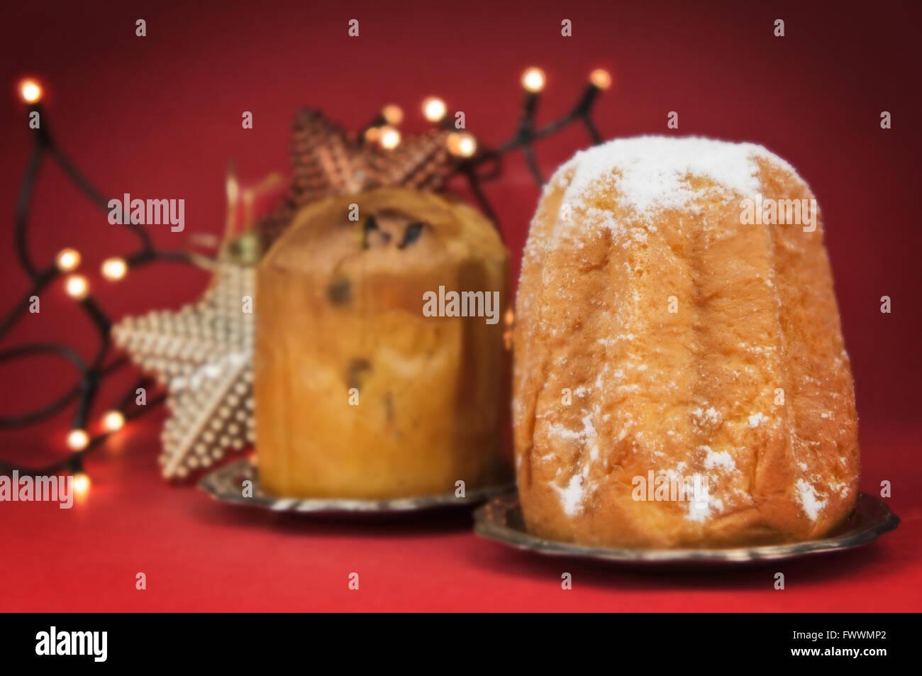 Pandoro Und Panettone Kuchen Traditionelle Italienische