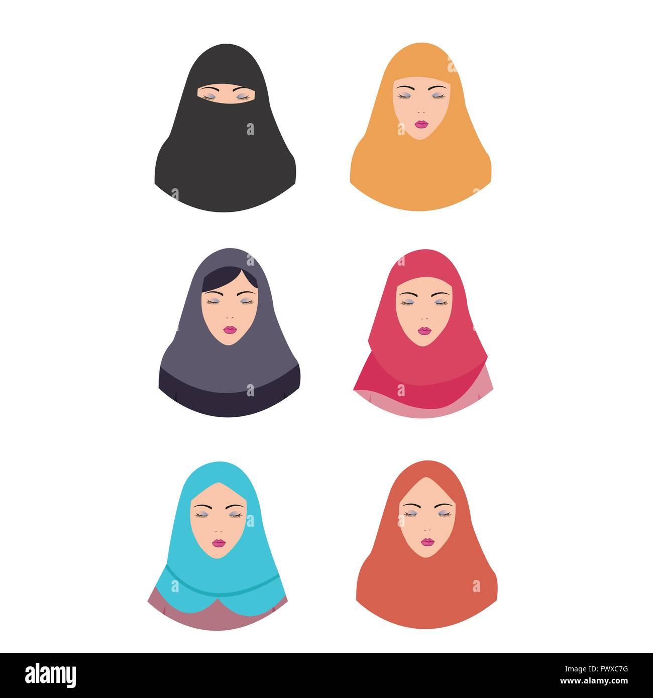 Frau Hijab Schleier Islam Tradition Islamischen Illustration Vektor