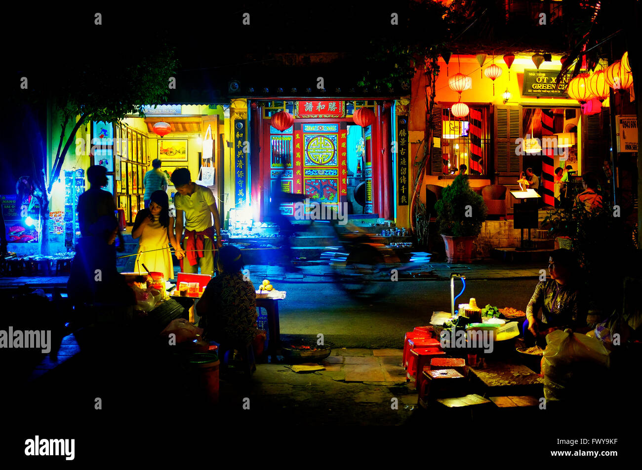 Nguyen Thai Hoc Straße in der Nacht, Hoi an, Vietnam Stockbild