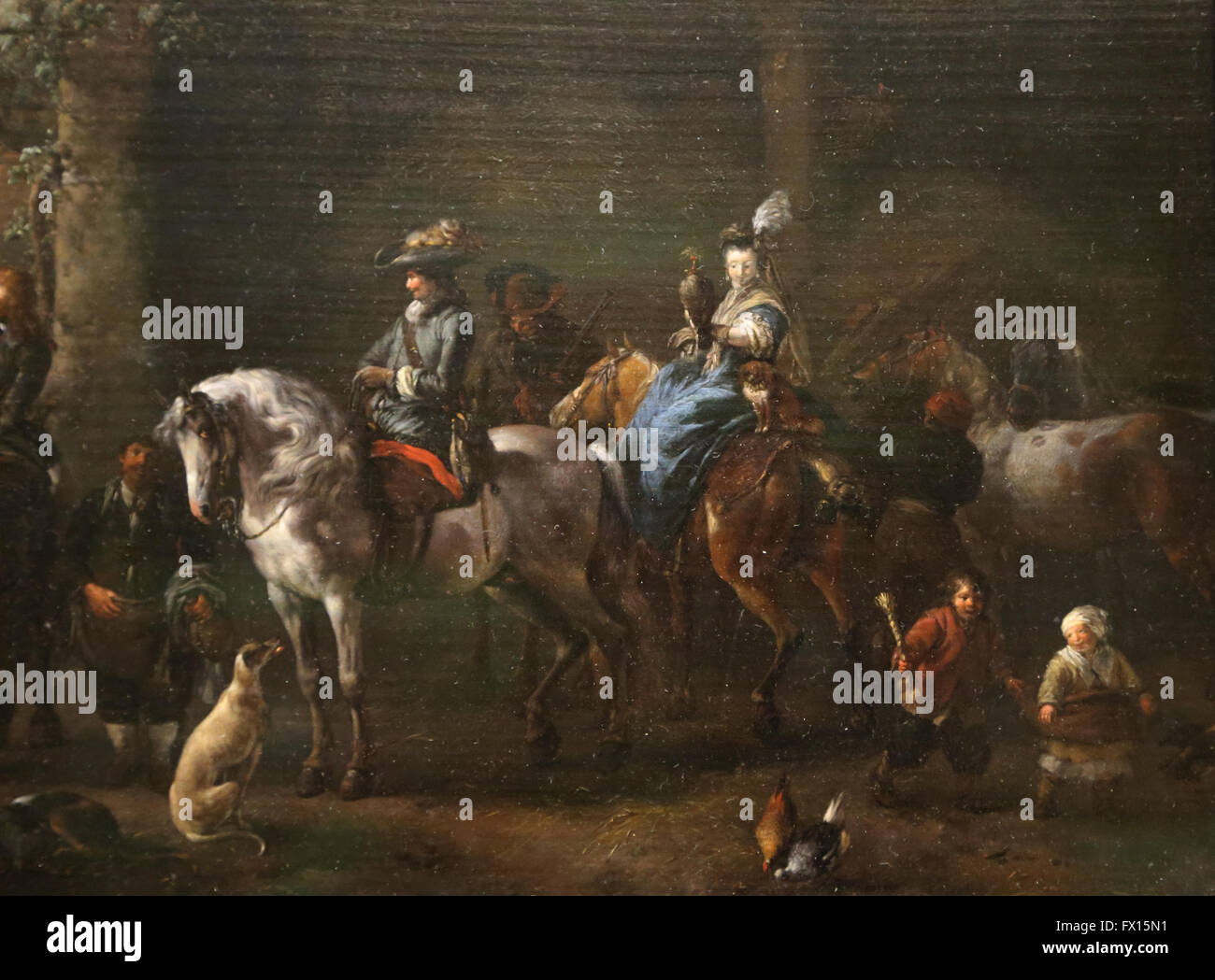 Philips Wouwerman (1619-1668). Niederländischer Maler. Die Abfahrt für die Falknerei. Louvre-Museum. Paris. Stockbild