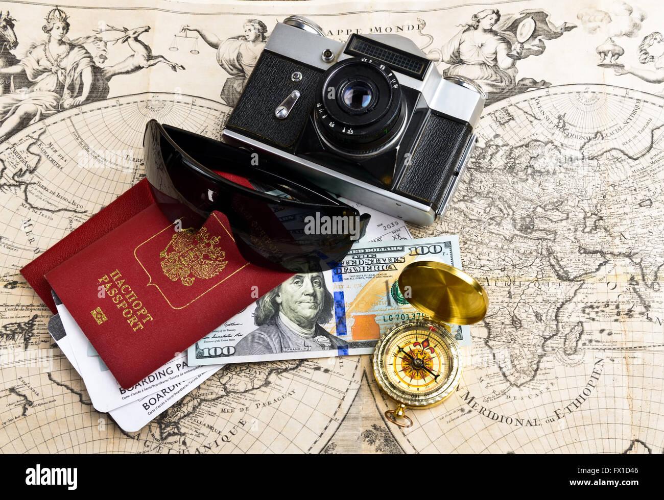 Planung Reiseziel Verwandte Artikel Stockbild