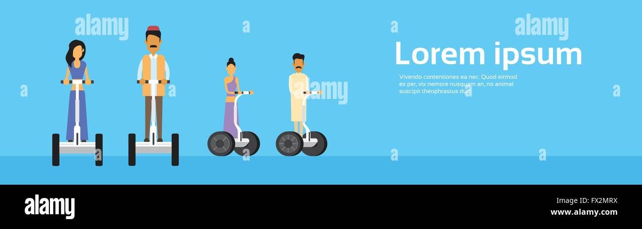 Indien-Volksgruppe indischer Mann Frau Fahrt Elektro-Roller, Segway ...