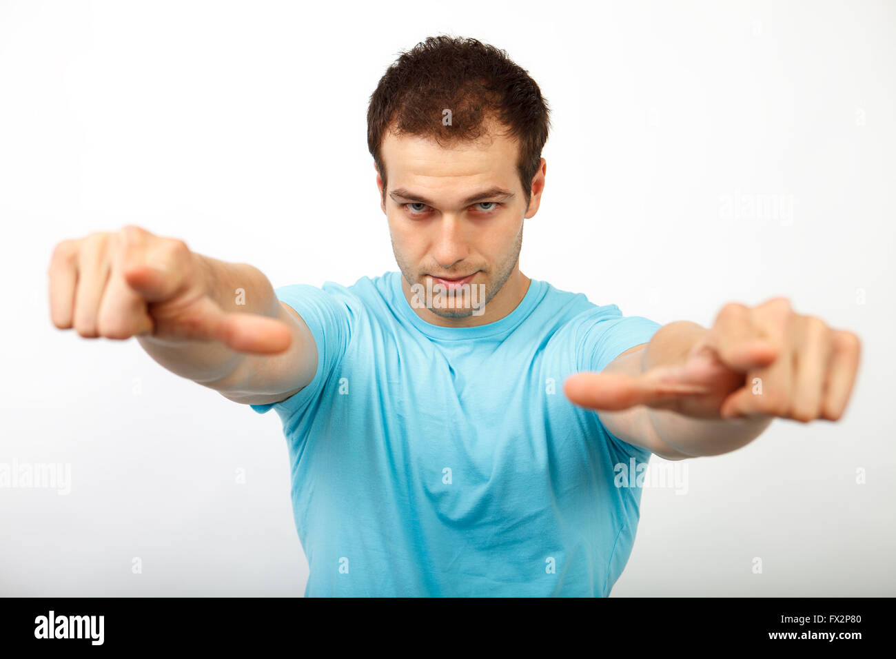 Wahl oder Pick-Konzept - coole junge Mann in Richtung Sie Stockbild
