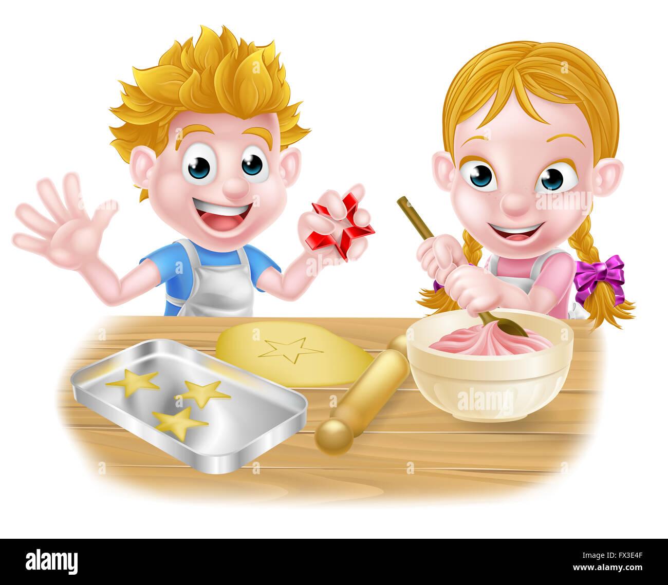 Cartoon kinder backen und kochen als k che in der k che stockfoto bild 102109855 alamy - Kawaii kochen ...