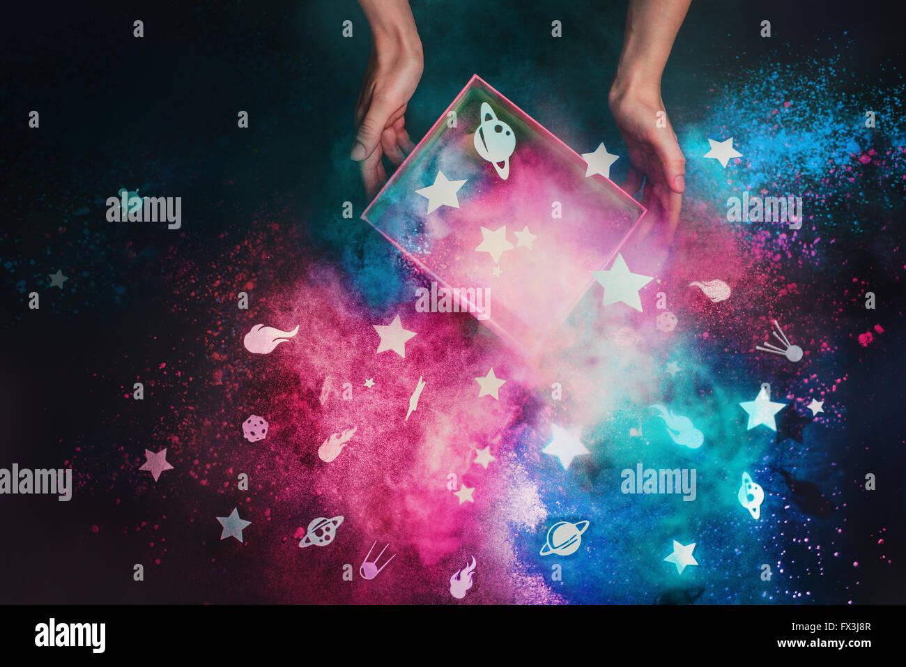 Eine Kiste voller Sterne Stockfoto