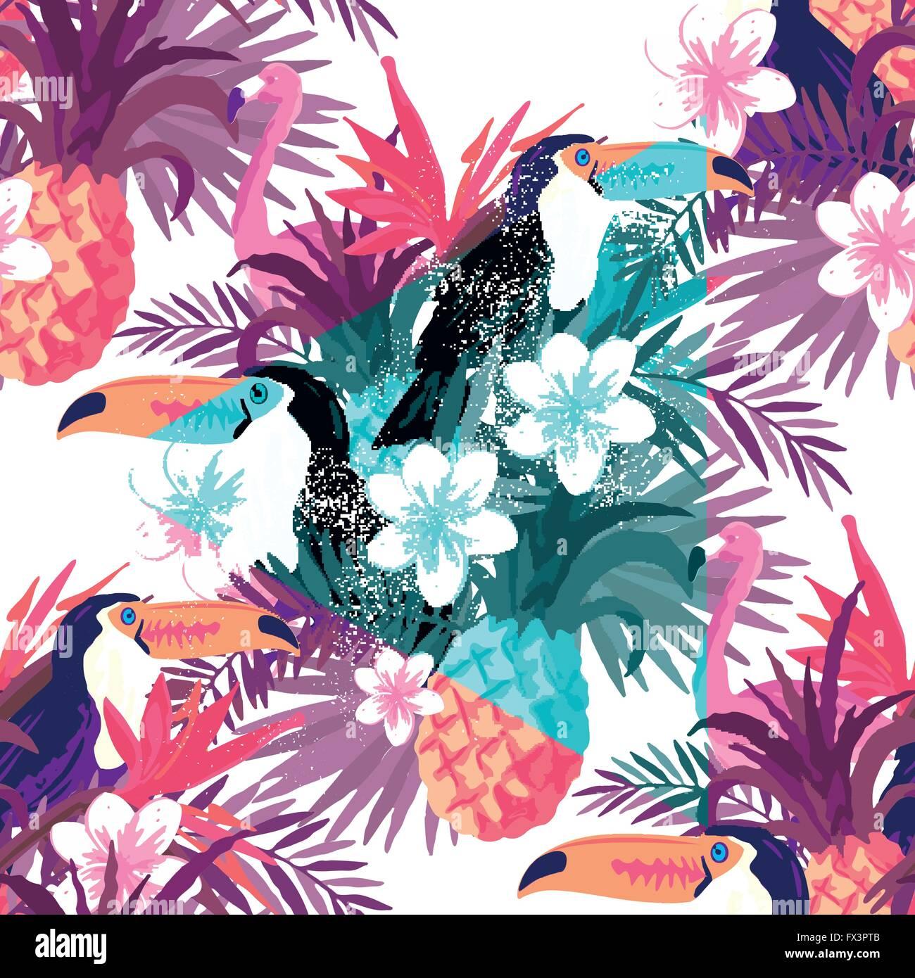 Tropischen abstrakten Hintergrund Vektor. Nahtlose Hintergrund Vektorgrafik. Stock Vektor