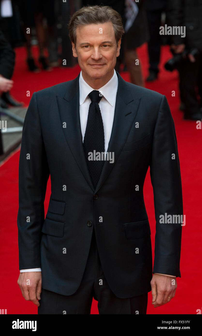 London, UK. 11. April 2016. Colin Firth in UK Film-Premiere von ' Äú Eye In The Sky ' au in London Stockbild