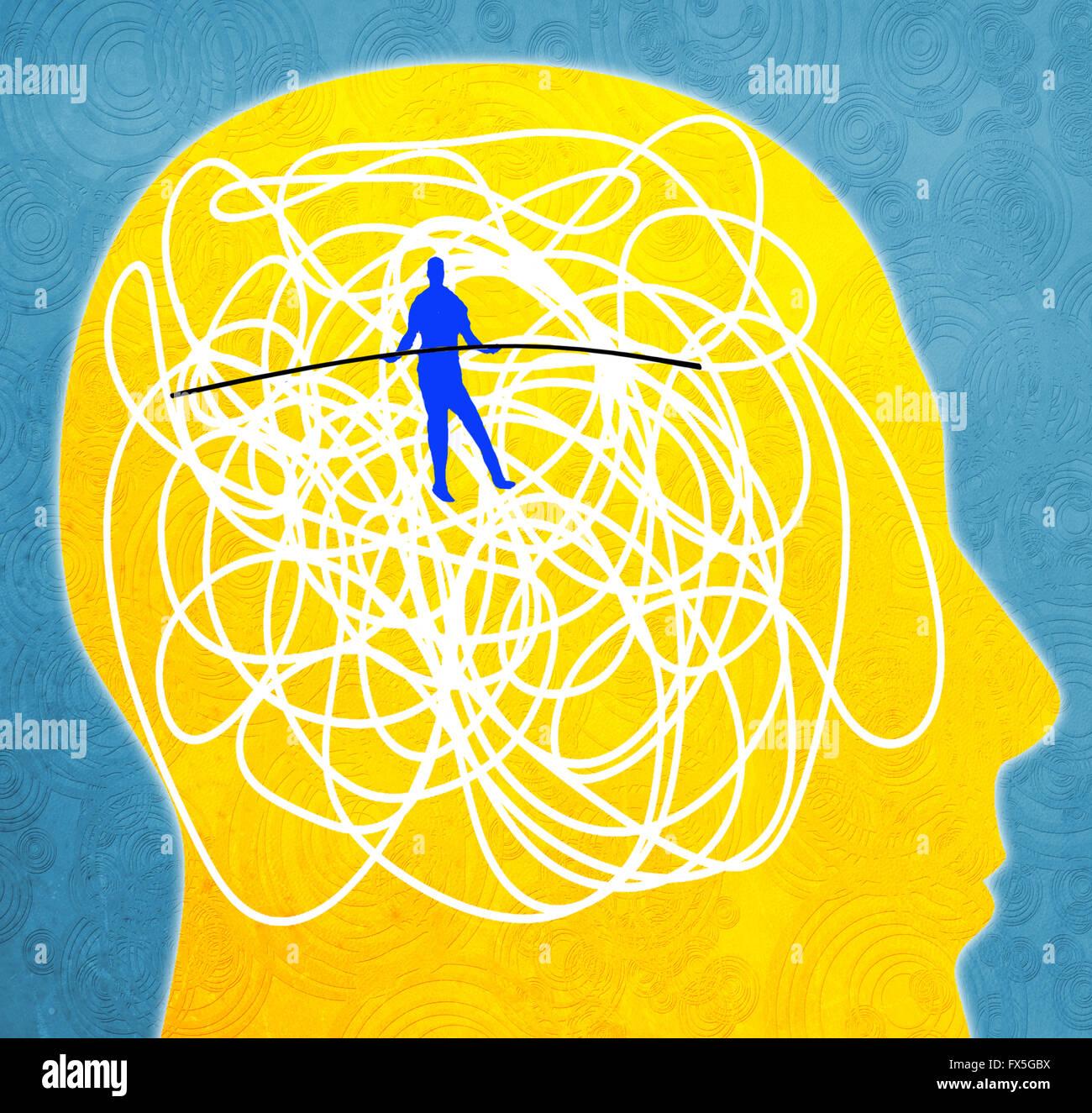 Das Konzept der psychischen Störung digitale Illustration mit Seiltänzer Stockbild