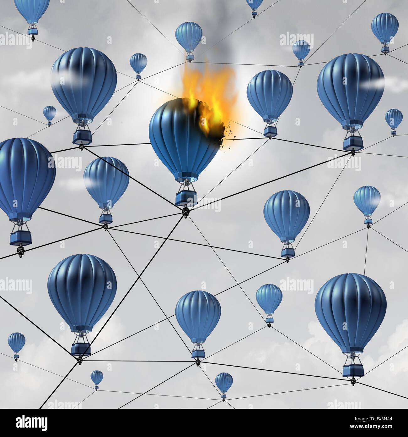 Netzwerk-Verbindung Fehler Geschäftskonzept als brennende Luftballon verbrennt in einer Gruppe von verbundenen Stockbild