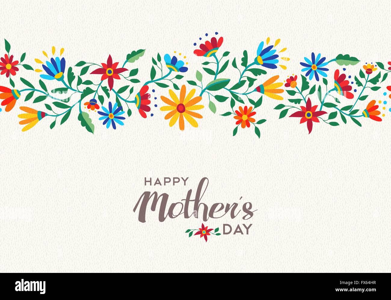 Elegante glücklichen Mütter Tag Zitat design mit Blume Musterdesign ...
