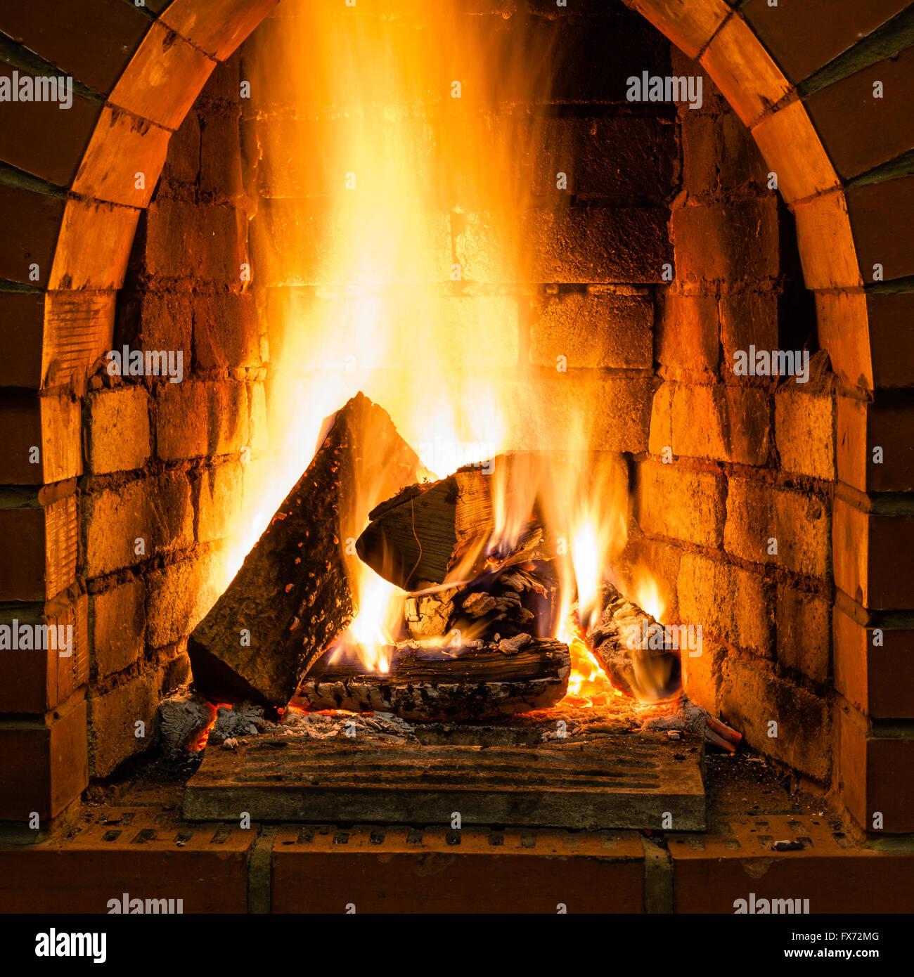 Offenes Feuer Im Feuerraum Des Gemauerten Kamin Im Landhaus