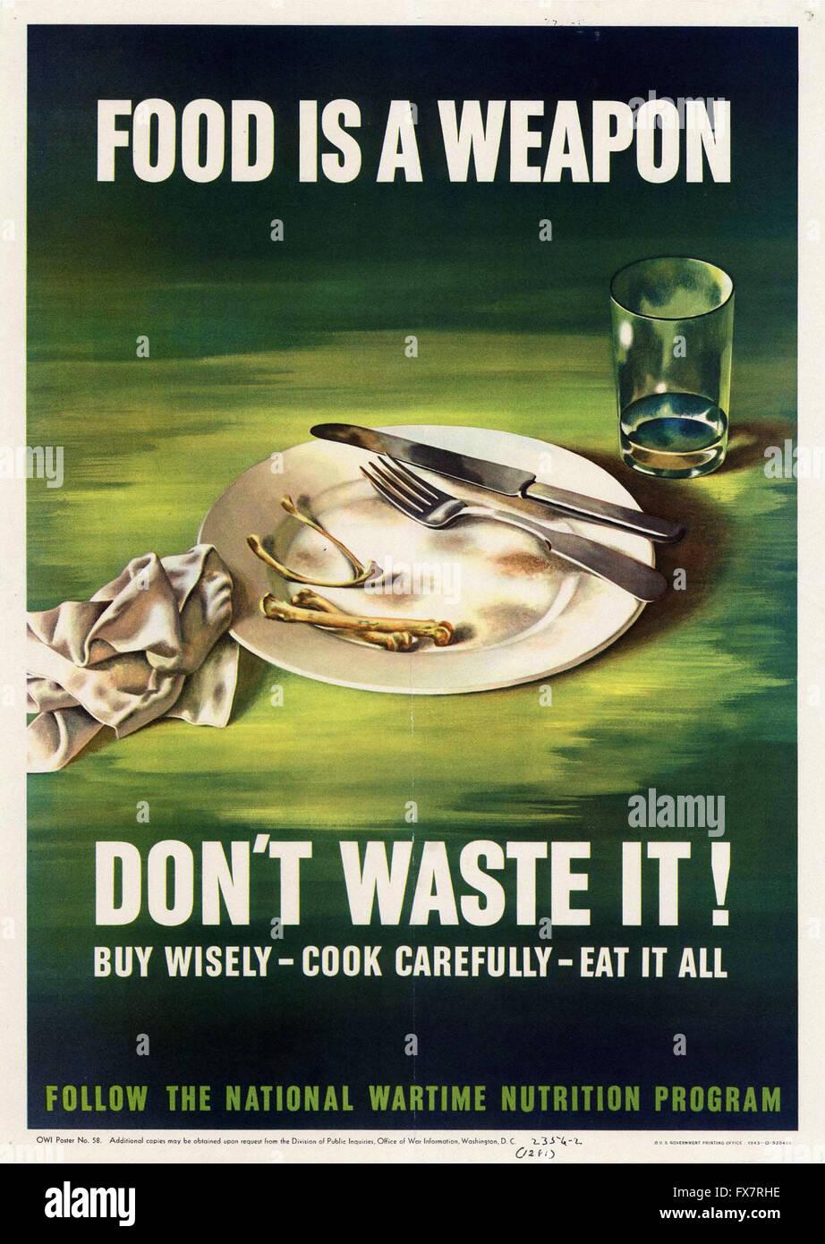 Essen ist eine Waffe - Weltkrieg - US-Propaganda Poster Stockbild