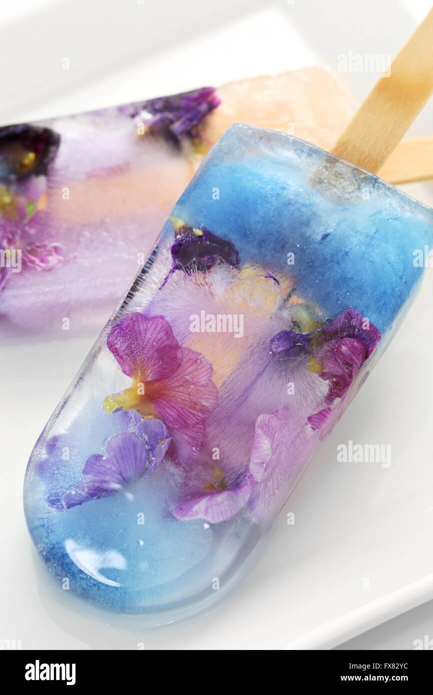 hausgemachte essbare Blume Eis Pop, isoliert auf weißem Hintergrund Eis am Stiel Stockbild