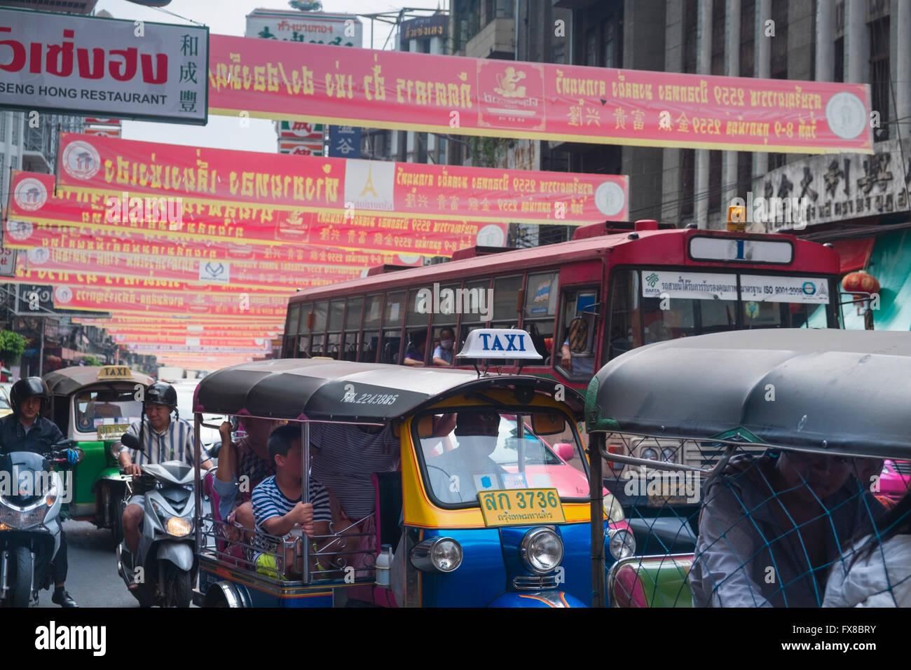 Chinatown Verkehr Bangkok Thailand Stockbild