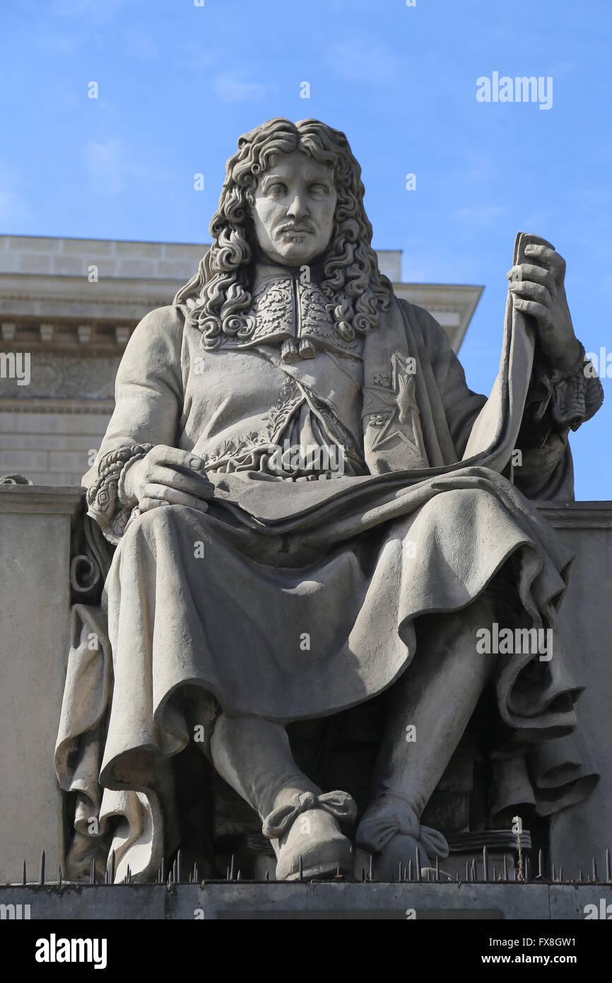 Jean-Baptiste Colbert (1619-1683). Französischer Politiker. Minister der Finanzen. Statue von Jacques-Edme Stockbild
