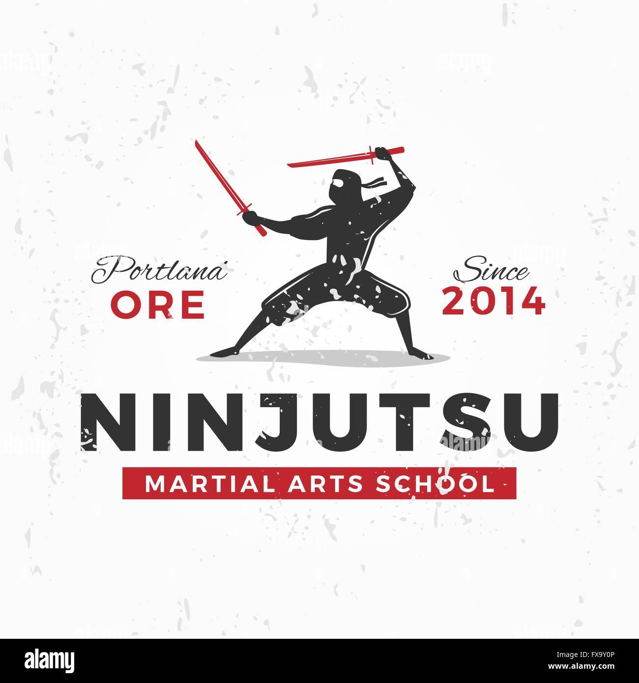 Japanischer Ninja Logo Ninjutsu Insignien Entwerfen Vintage Ninja
