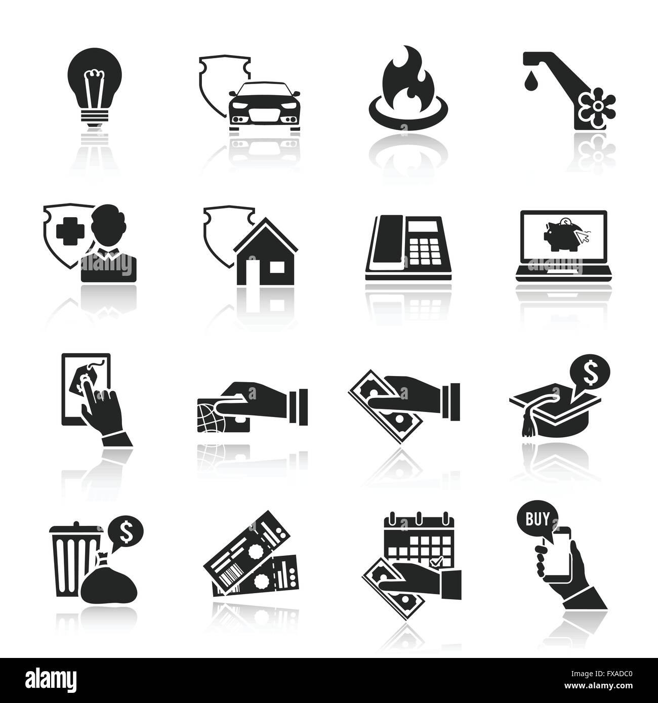 bezahlen sie rechnung symbole schwarz satz vektor. Black Bedroom Furniture Sets. Home Design Ideas