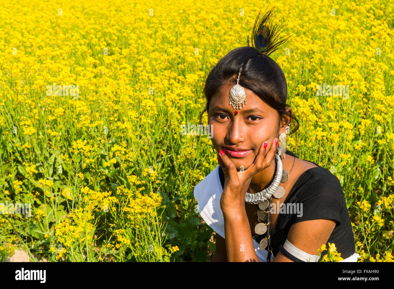 Porträt von eine junge Frau aus der Tharu-Stamm, sitzen in einem gelben Senf Feld, Sauraha, Chitwan, Nepal Stockbild
