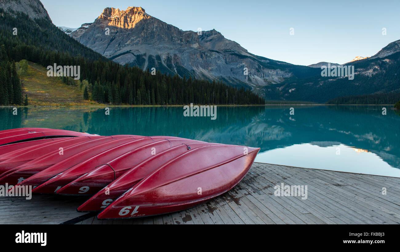 Emerald Lake, Yoho-Nationalpark, Kanadische Rockies, Provinz British Columbia, Kanada Stockbild