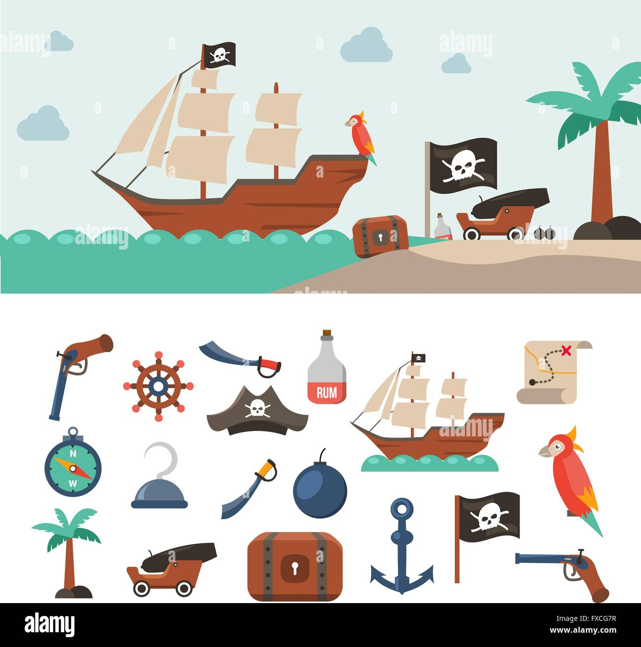Pirate Icons set Stockbild